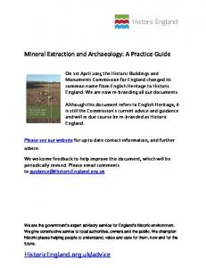 Mineral Extraction and Archaeology: A Practice Guide