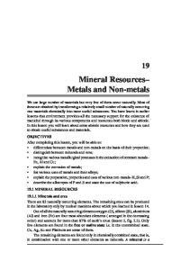 Mineral Resources Metals and Non-metals