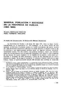MINERIA, POBLACION Y SOCIEDAD EN LA PROVINCIA DE HUELVA ( )
