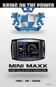 Mini Maxx Installation Manual 1 Mini Maxx Rev: