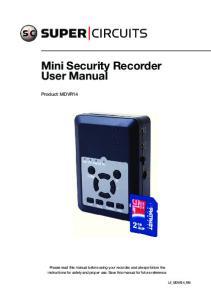 Mini Security Recorder User Manual