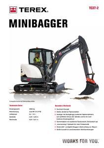 MINIBAGGER TC37-2. Technische Daten. Besondere Merkmale