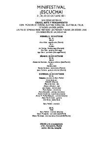 MINIFESTIVAL ESCUCHA! 21, 22, 23 DE OCTUBRE 2011