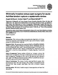 Minimally invasive versus open surgery for acute Achilles tendon rupture: a systematic review