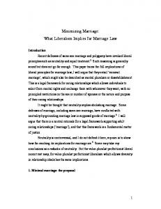 Minimizing Marriage: What Liberalism Implies for Marriage Law