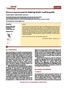Minimum Input Variances for Modelling Rainfall-runoff Using ANN