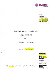 MINIMUM SAFETY & SECURITY REQUIREMENTS FOR SELF-COLLECTORS*)
