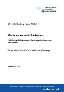 Mining and economic development