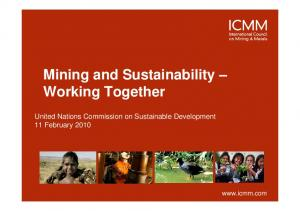 Mining and Sustainability Working Together