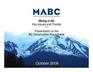 Mining in BC Key Issues and Trends *** BC Construction Roundtable