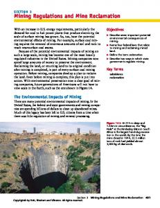 Mining Regulations and Mine Reclamation