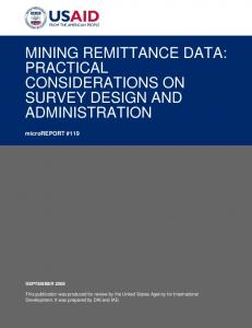 MINING REMITTANCE DATA: PRACTICAL CONSIDERATIONS ON SURVEY DESIGN AND ADMINISTRATION