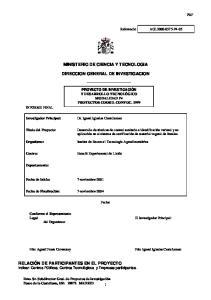 MINISTERIO DE CIENCIA Y TECNOLOGIA DIRECCION GENERAL DE INVESTIGACION