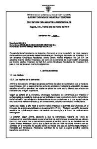 MINISTERIO DE COMERCIO, INDUSTRIA Y TURISMO SUPERINTENDENCIA DE INDUSTRIA Y COMERCIO DELEGATURA PARA ASUNTOS JURISDICCIONALES