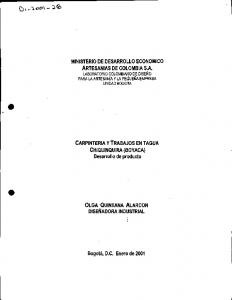 MINISTERIO DE DESARROLLO ECONOMICO ARTESANIAS DE COLOMBIA