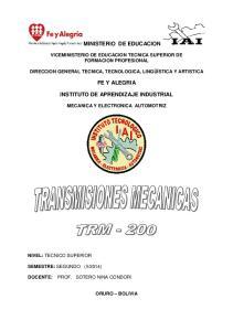 MINISTERIO DE EDUCACION FE Y ALEGRIA INSTITUTO DE APRENDIZAJE INDUSTRIAL