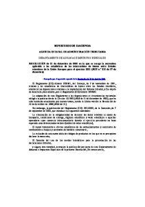 MINISTERIO DE HACIENDA. Departamento de Aduanas e Impuestos Especiales
