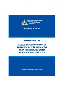 MINISTERIO DE SALUD MANUAL DE CAPACITACION EN SALUD SEXUAL Y REPRODUCTIVA PARA PERSONAL DE SALUD DIRIGIDO A ADOLESCENTES