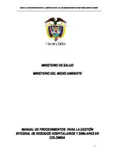 MINISTERIO DE SALUD MINISTERIO DEL MEDIO AMBIENTE