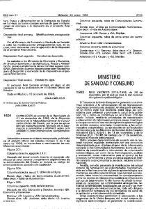 MINI.STERIO DE SANIDAD Y CONSUMO