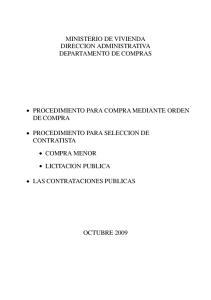 MINISTERIO DE VIVIENDA DIRECCION ADMINISTRATIVA DEPARTAMENTO DE COMPRAS PROCEDIMIENTO PARA COMPRA MEDIANTE ORDEN DE COMPRA