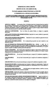 MINISTERIO DEL MEDIO AMBIENTE DECRETO 1421 DEL 13 DE AGOSTO DE Por el cual se reglamenta el artículo 134 del Decreto Ley 2150 de 1995