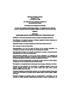 Ministerio del Medio Ambiente Decreto N de octubre de Por medio del cual se establece el régimen de aprovechamiento forestal