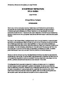 MINISTERIOS Y ESTRUCTURA DE LA IGLESIA