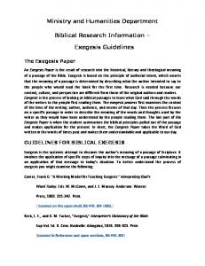 Ministry and Humanities Department. Biblical Research Information. Exegesis Guidelines