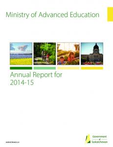 Ministry of Advanced Education. Annual Report for saskatchewan.ca