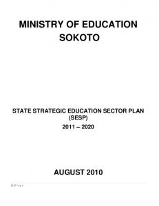 MINISTRY OF EDUCATION SOKOTO