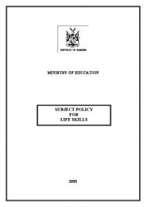 MINISTRY OF EDUCATION SUBJECT POLICY FOR LIFE SKILLS