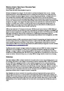 Ministry of Justice Open Source Discussion Paper