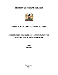MINISTRY OF MEDICAL SERVICES PHARMACY AND POISONS BOARD KENYA
