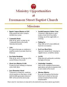 Ministry Opportunities at Freemason Street Baptist Church