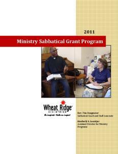 Ministry Sabbatical Grant Program