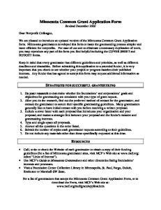 Minnesota Common Grant Application Form Revised December 2000