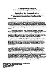 Minnesota Department of Health Environmental Laboratory Accreditation Program