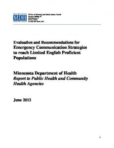 Minnesota Department of Health Report to Public Health and Community Health Agencies