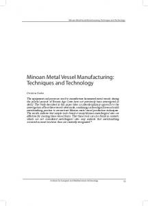 Minoan Metal Vessel Manufacturing: Techniques and Technology