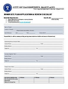 MINOR SITE PLAN APPLICATION & REVIEW CHECKLIST