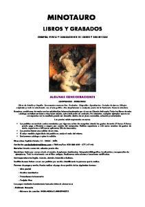 MINOTAURO LIBROS Y GRABADOS COMPRA, VENTA Y TASACACIONES DE LIBROS Y BIBLIOTECAS ALGUNAS CONSIDERACIONES COMPRAMOS - VENDEMOS