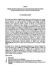 MINUTA PRIMERA REUNIÓN DE TRABAJO CON ORGANIZACIONES, ASOCIACIONES Y FUNDACIONES QUE LUCHAN CONTRA EL CÁNCER DE MAMA 31 DE AGOSTO DE 2009
