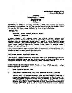 MINUTES ALHAMBRA CITY COUNCIL Special Meeting December 4, :00 a.m