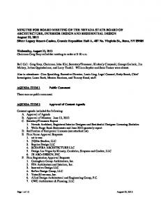 MINUTES FOR BOARD MEETING OF THE NEVADA STATE BOARD OF ARCHITECTURE, INTERIOR DESIGN AND RESIDENTIAL DESIGN