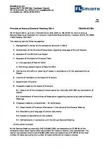 Minutes of Annual General Meeting 2014