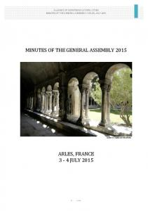 MINUTES OF THE GENERAL ASSEMBLY 2015
