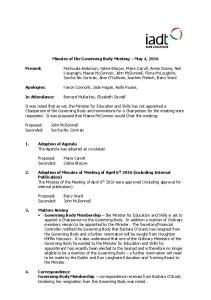 Minutes of the Governing Body Meeting May 4, 2016