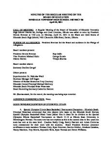 MINUTES OF THE REGULAR MEETING OF THE BOARD OF EDUCATION HINSDALE TOWNSHIP HIGH SCHOOL DISTRICT 86 April 25, 2011
