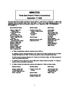 MINUTES. Texas State Board of Public Accountancy September 17, 2009